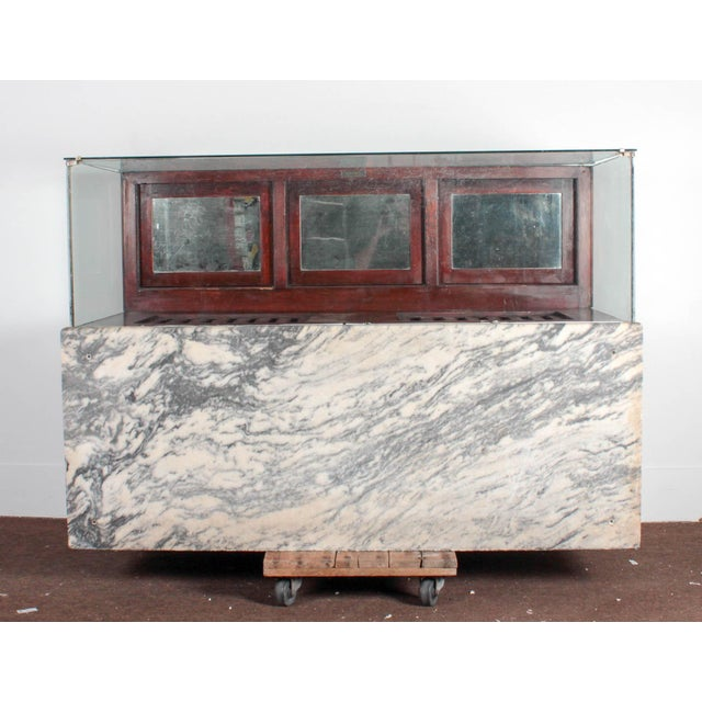 Traditional Antique Marble & Glass Store Display For Sale - Image 3 of 10