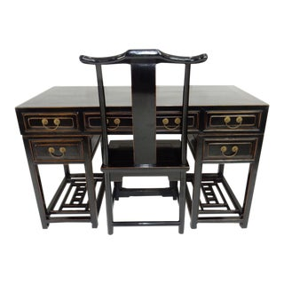 Antique Chinese Black Lacquer Scholars Travel Desk & Yoke Back Chair For Sale