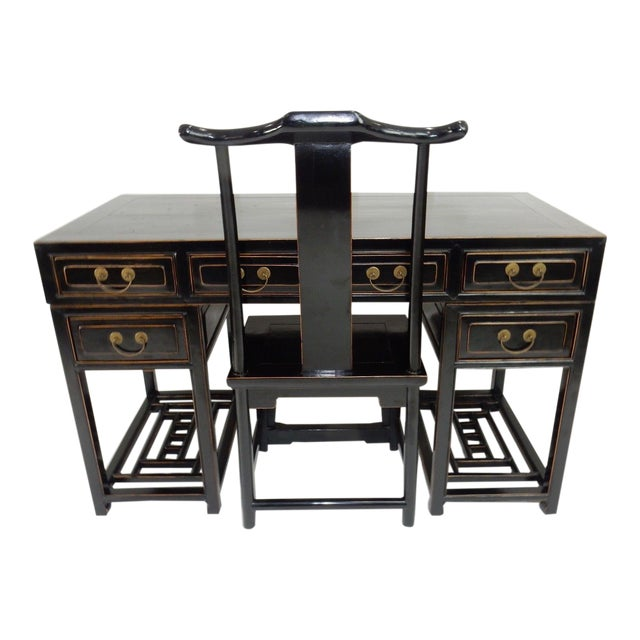 Antique Chinese Black Lacquer Scholars Travel Desk & Yoke Back Chair For  Sale - Antique Chinese Black Lacquer Scholars Travel Desk & Yoke Back Chair