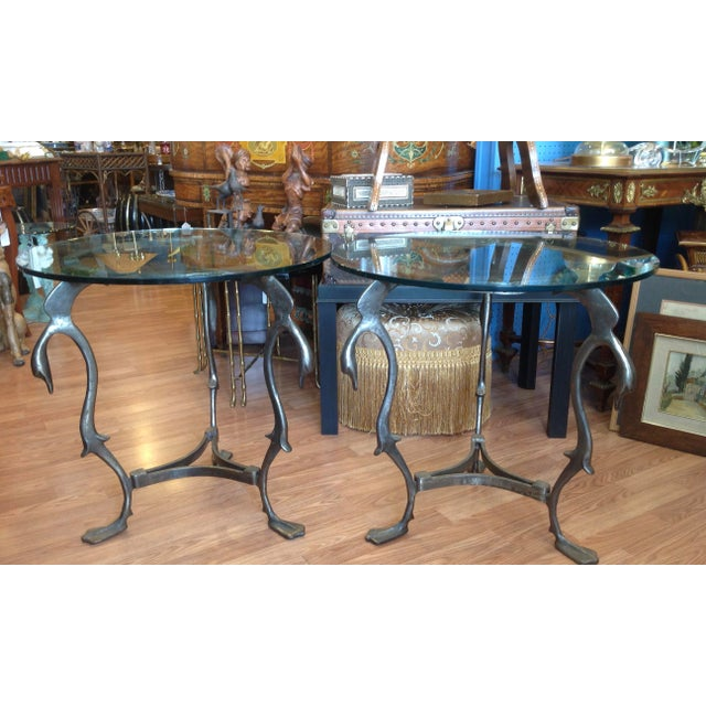 1950s Pair of Midcentury French Steel Swan Motif Tables For Sale - Image 5 of 7