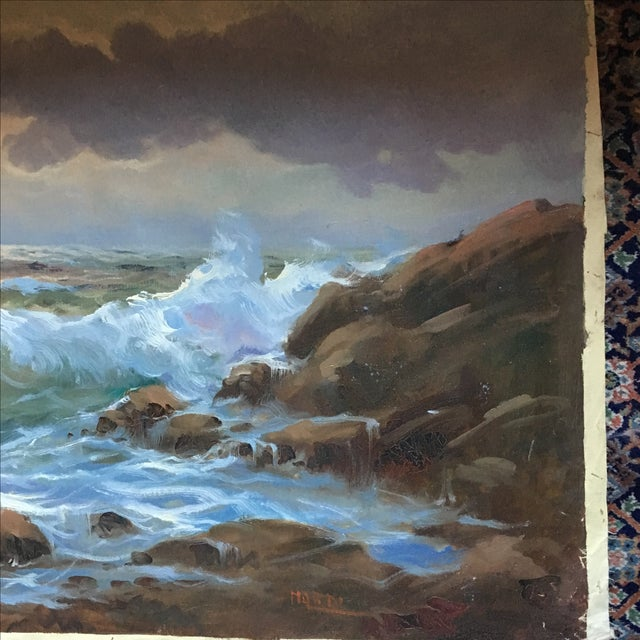 Vintage Large Signed Seascape - Image 6 of 11