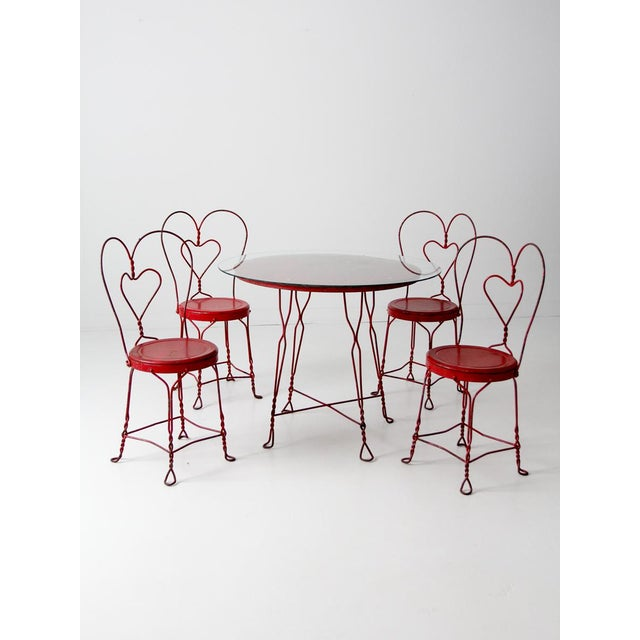 Red Antique Ice Cream Parlor Table Set For Sale - Image 8 of 11