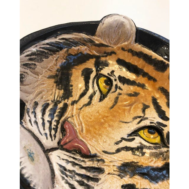 Hollywood Regency Vintage Italian Ceramic Tiger Dish Bowl Wall Hanging Decor For Sale - Image 3 of 7