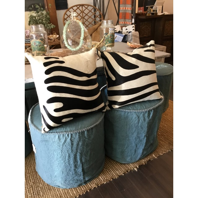 2010s Linen Slipcovered Stools For Sale - Image 5 of 8