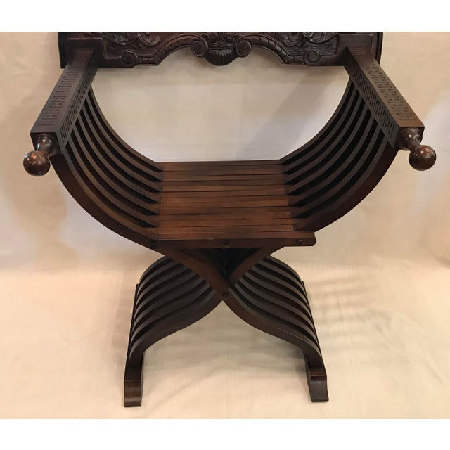 Brown 20th Century Italian Savonarola X-Form Carved Wooden Chair For Sale - Image 8 of 13