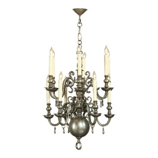 Mid 20th Century Dutch Pewter 12 Light Chandelier For Sale