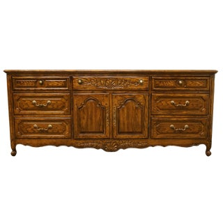 "20th Century Traditional Thomasville Furniture Chateau Provence Collection 76"" Triple Door Dresser For Sale"