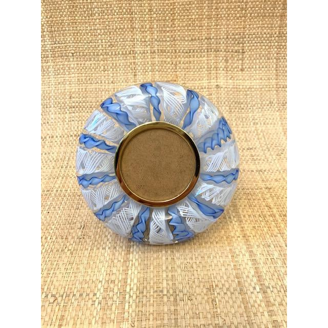 Vintage, heavy Murano hand blown twisted blue and white Zanfirico ribbons picture frame. Round glass image window that...