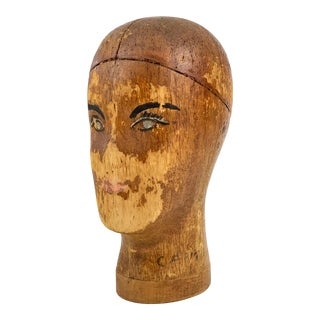1930s Painted Balsa Wood Head Millinery Hat Mold Form Block For Sale