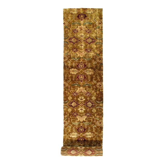 """Pasargad Indian Agra Hand Knotted Rug - 3′5"""" X 19′3"""" For Sale"""