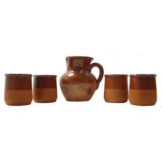 Vintage French Vallauris Terracotta Rosé /Cider Set - S/5