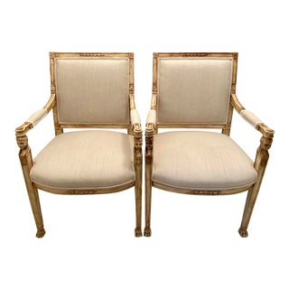 Early 20th Century Neoclassical Hand-Carved Wooden Armchairs - a Pair For Sale
