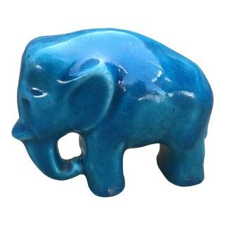 Vintage Turquoise Ceramic Elephant Statue For Sale
