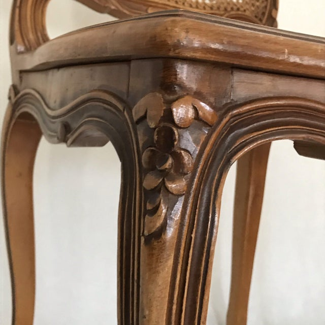 Wood Classic Antique Set of 6 Louis XV Carved Walnut & Caned Dining Chairs For Sale - Image 7 of 13