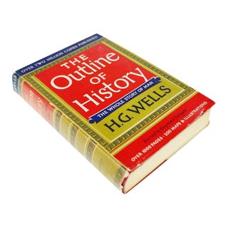 Vintage 1956 The Outline of History H.G. Wells Vol. II Illustrated Book Hardcover with Original Dust Jacket For Sale