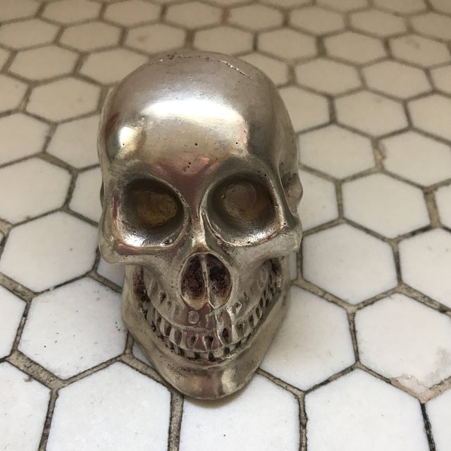 Vintage Silver Metal Skull For Sale - Image 10 of 12