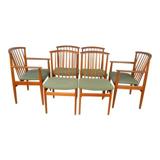 Sylve Stenquist for Dux Sweden Set of Six Teak Dining Chairs For Sale