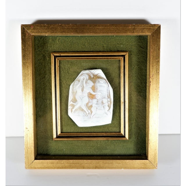 Vintage Cameo Shell Fragment of Nude Women Dancing, Framed For Sale - Image 4 of 4