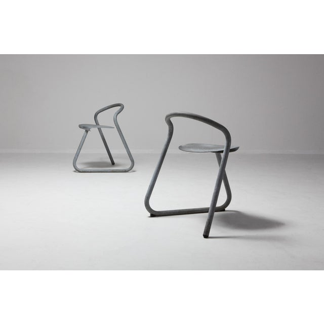 1980s Danish Stackable Chairs in Galvanized Steel by Erik Magnussen For Sale - Image 5 of 12
