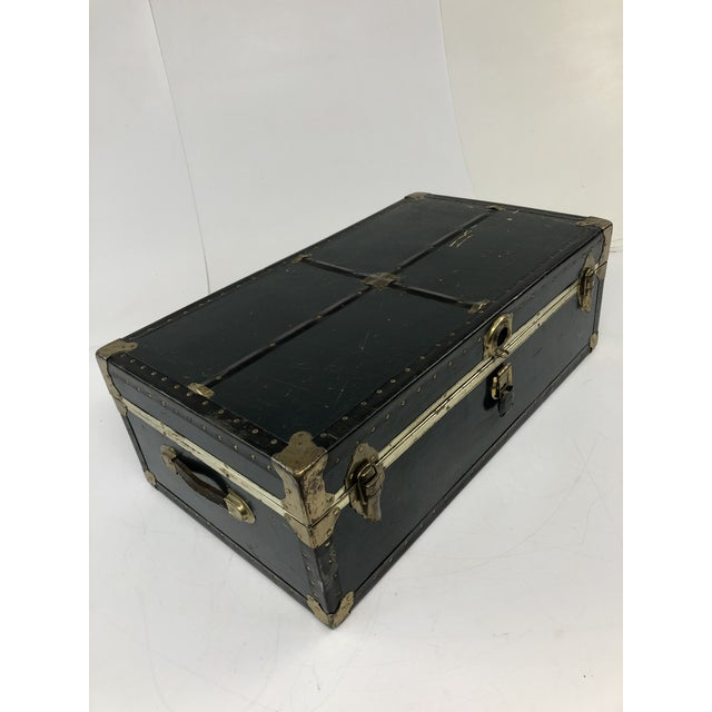 Vintage Vulcanized Black Steamer Trunk With Tray For Sale - Image 11 of 12