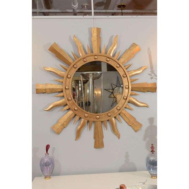 Mid-Century Modern 1980s Gilt Metal Sunburst Mirror For Sale - Image 3 of 7
