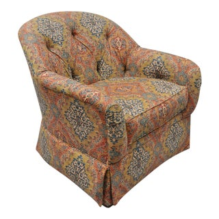 Ethan Allen Upholstered Barrel Back Lounge Club Chair Tufted Boho Print Fabric