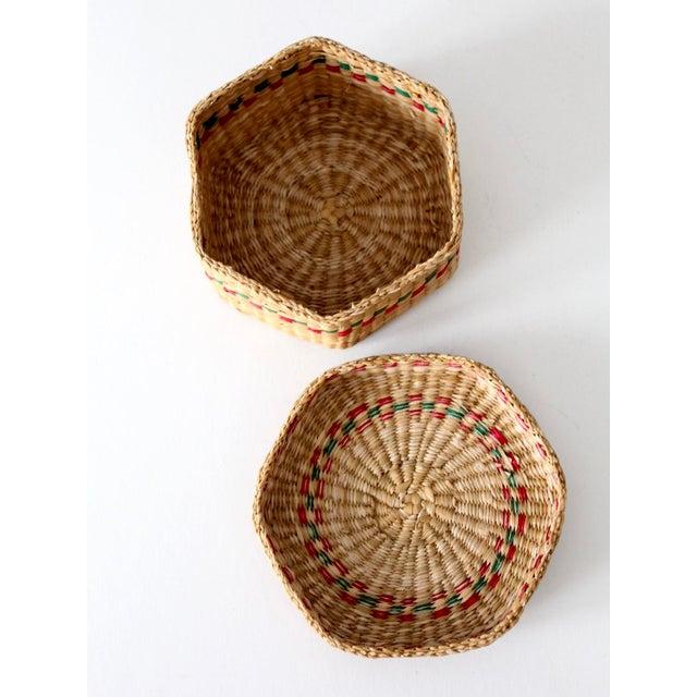 Red Vintage Sweetgrass Basket For Sale - Image 8 of 10