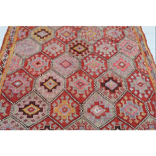Mid-Century Modern Vintage Turkish Fethiye Nomad's Flat Weave Rug For Sale - Image 3 of 12