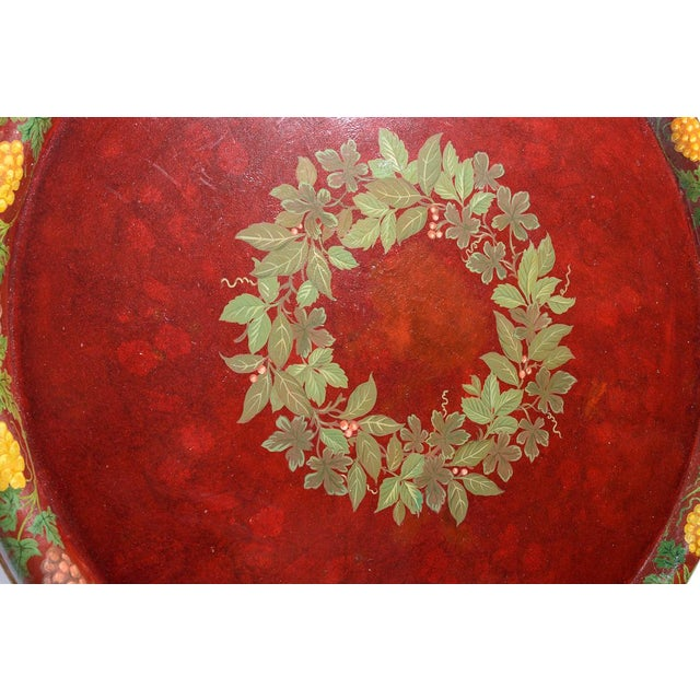 """Metal Antique Floral Tole Tray, 48"""" Across, C.1890 French For Sale - Image 7 of 12"""