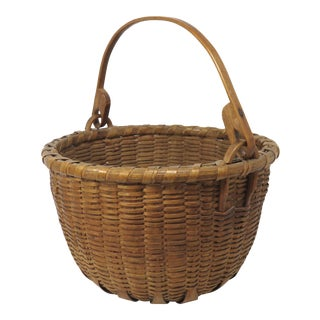Antique Swing Handle Woven Ash Splint Basket For Sale
