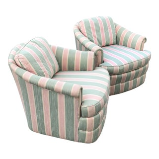 1980s Modern Sherrill Pink & Green Striped Swivel Chairs - a Pair For Sale