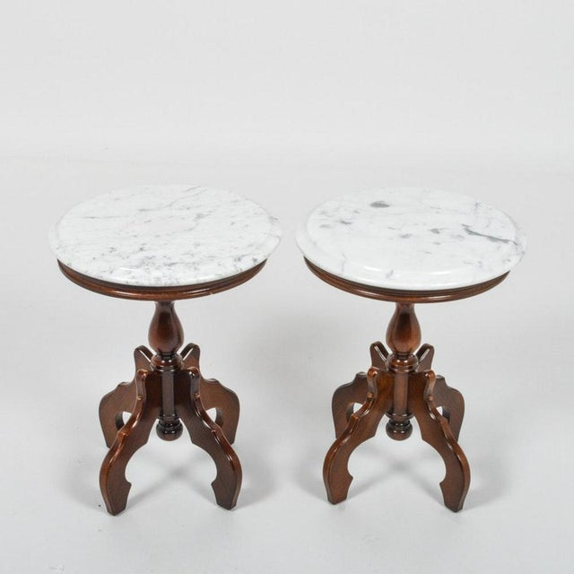 Mahogany Italian Marble-Top Accent Side Tables - a Pair For Sale - Image 7 of 12
