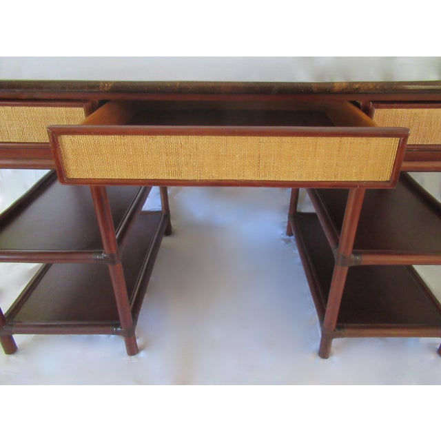 1970s British Colonial-Style Rattan Tobacco Leaf Top Writing Desk For Sale In Miami - Image 6 of 13