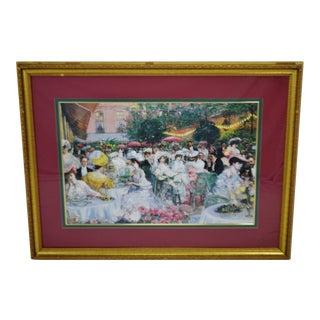 Vintage Framed Bassett Fine Arts Victorian Style Garden Party Print For Sale