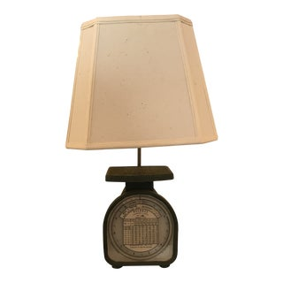 Vintage Weight Scale Custom Made Table Lamp For Sale