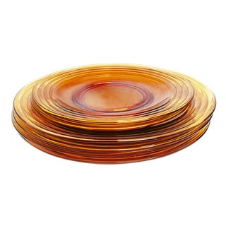 1950s Mid Century Amber Colored Glass Plates - Set of 6