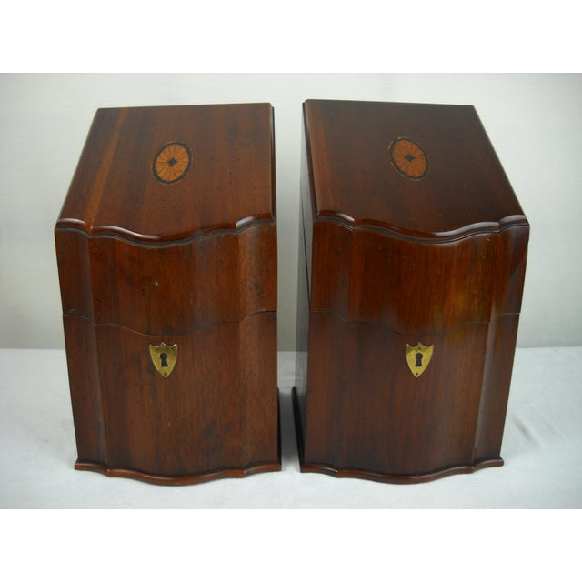 Georgian-Style Inlaid Knife Boxes - A Pair - Image 3 of 10