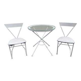 1980s Chic Postmodern Wrought Iron Patio Set- 3 Pieces For Sale