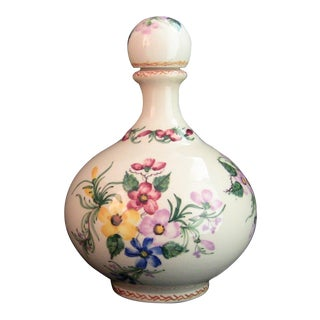 Vintage Carvalhinho Portugal Hand Painted Ceramic / Porcelain Decanter Bottle W Stopper For Sale