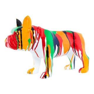 "Interior Illusions Plus Standing Bulldog Splatter Art Dog - 13.75"" long For Sale"