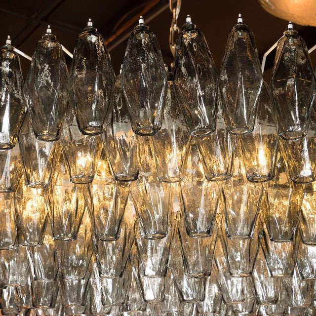 Modernist Handblown Murano Polyhedral Chandelier in Smoked Pewter For Sale In New York - Image 6 of 8
