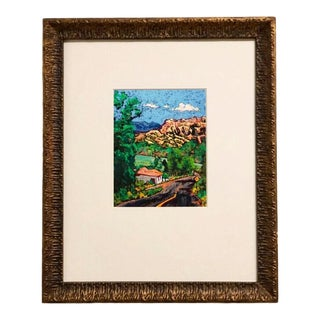 "Vintage Framed Abstract South of Taos II"" Landscape Art by Barbara Clark For Sale"