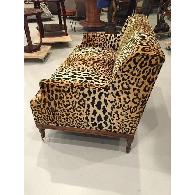 Black Mid-Century Leopard Print Sofa For Sale - Image 8 of 10
