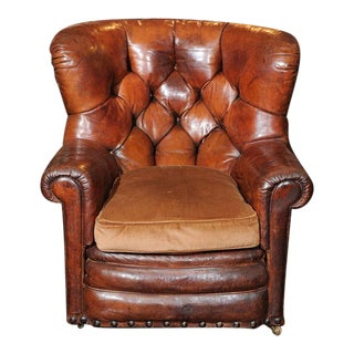 Tufted Leather Armchair with Original Leather For Sale
