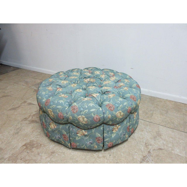 2000s Henredon Tufted Round Schoonbeck Hobb Nail Ottoman Foot Stool Bench Seat For Sale - Image 5 of 11