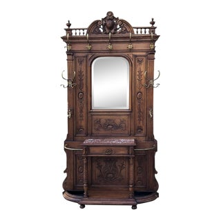 19th Century French Henri II Walnut Hall Tree For Sale