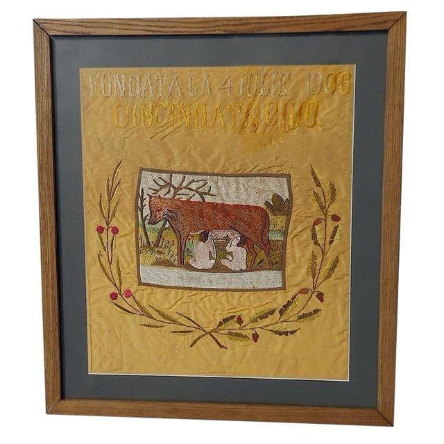 Italian Antique Cincinnati Romulus/Remus Silk Embroidery For Sale - Image 3 of 5