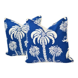 Thibaut Palm Island Linen Pillows With Down Inserts - a Pair For Sale
