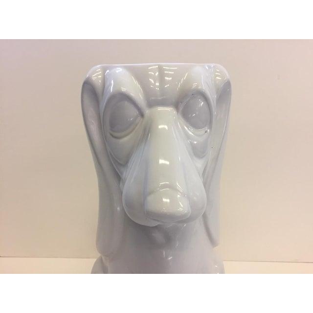 1970s Italian Hound Dog White Ceramic Umbrella Stand For Sale - Image 5 of 12