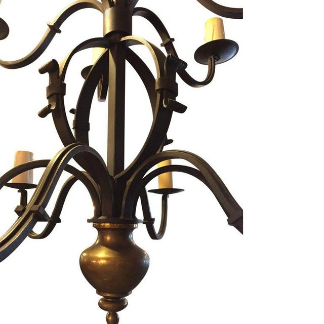Mid 20th Century Tommy Hilfiger Wrought Iron Chandelier For Sale - Image 5 of 7